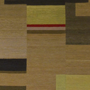 Custom handmade rug by Montagne Handwoven. Geometric strip rug in greens, blues, earth tones, with red highlights