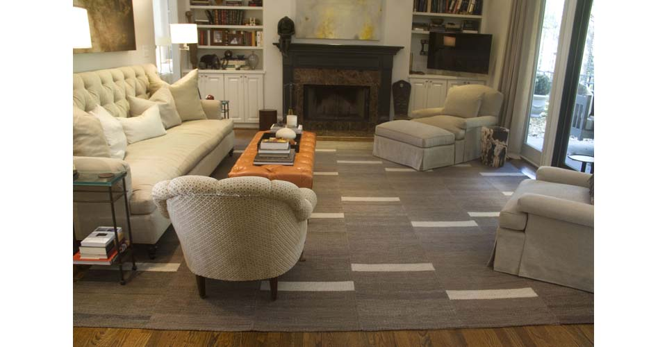 Montagne Handwoven handmade geometric strip rug in brown, white